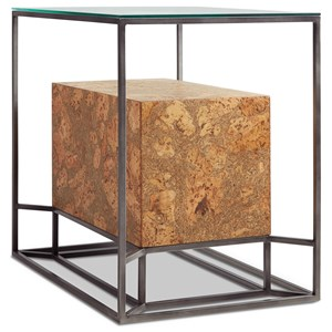 Contemporary Chairside Table with Cork Shelf