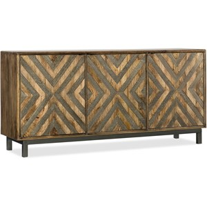 "Serramonte 69"" Entertainment/Accent Console with Chevron German Silver"