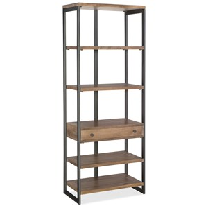 Industrial Style Metal/Wood Bookcase with One Drawer