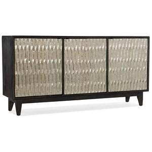 Glam Shimmer Three-Door Credenza with Adjustable Shelves