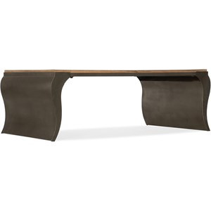 Rectangular Cocktail Table with Hand-Carved Top