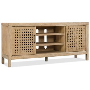 "64"" Woven Door Entertainment Console with Adjustable Shelves"