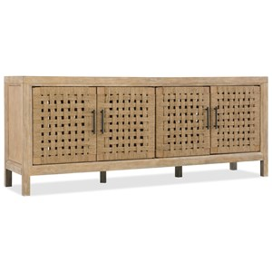 "76"" Woven Door Entertainment Console with Adjustable Shelves"