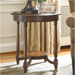 Round Accent Table with Applique Bordered Top