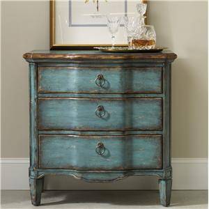Three Drawer Turquoise Chest with Shaped Front