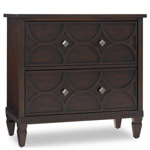 Two-Drawer Accent Chest with Raised Pattern Drawer Fronts