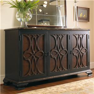 Two Tone Credenza with Raised Applique Door Fronts