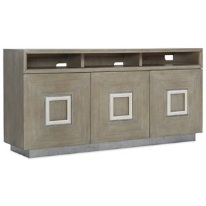 Transitional Entertainment Console with 3 Plug Outlet and Adjustable Shelves