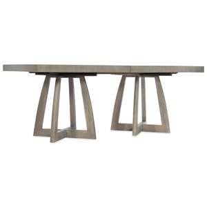 "Transitional 78"" Rectangle Pedestal Dining Table with 2  Leaves"