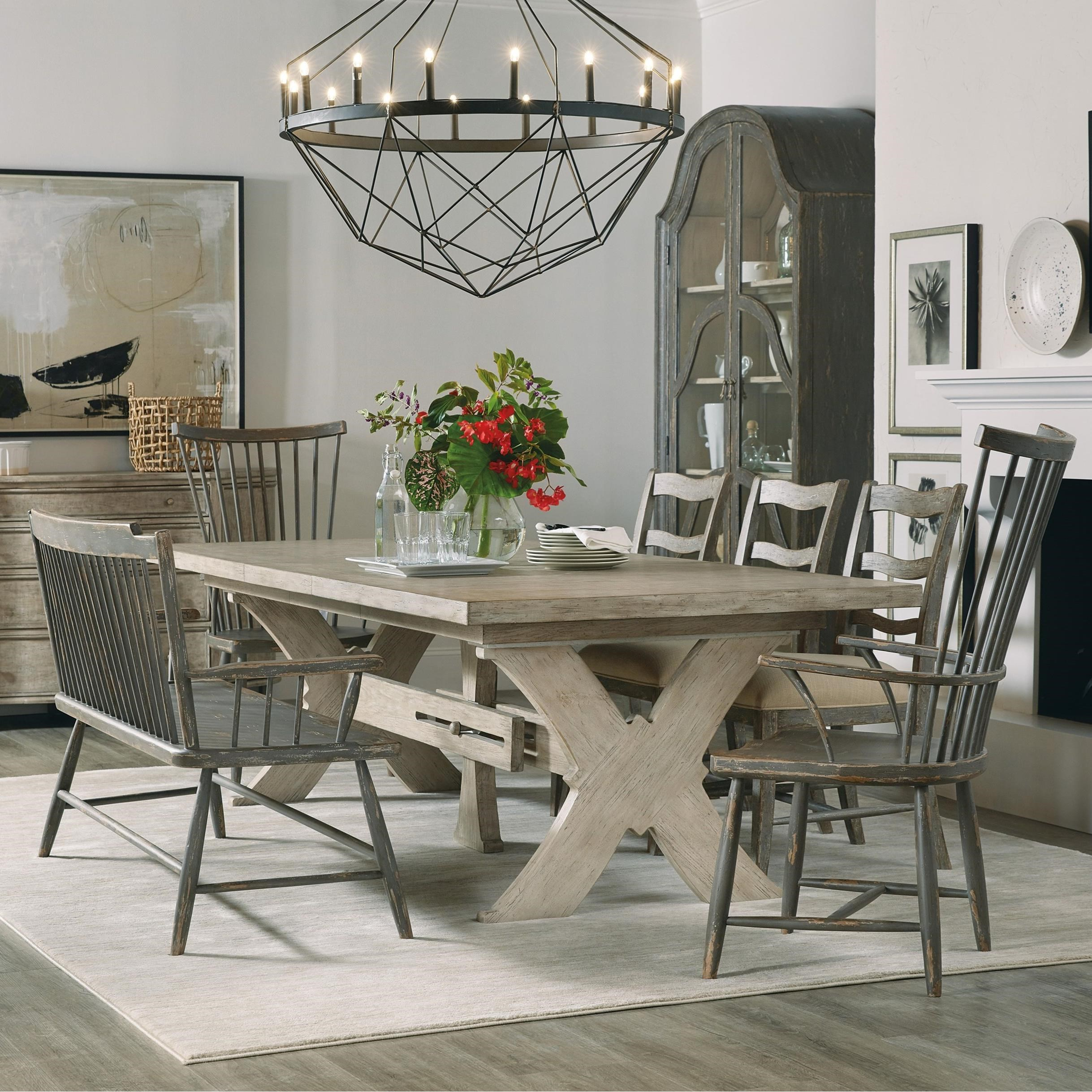 Alfresco 7-Piece Table and Chair Set with Bench by Hooker Furniture at Suburban Furniture