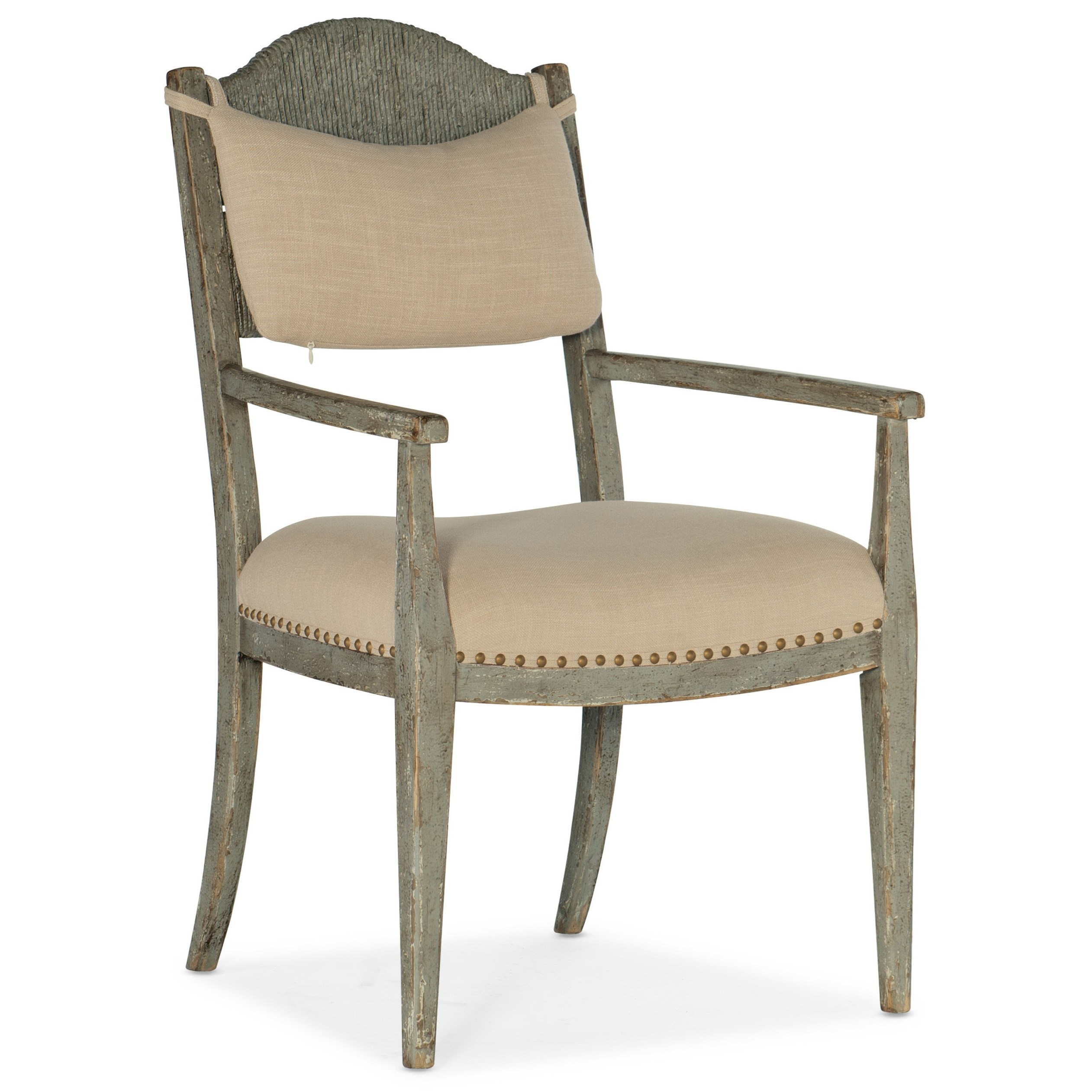 Alfresco Aperto Rush Arm Chair by Hooker Furniture at Miller Waldrop Furniture and Decor