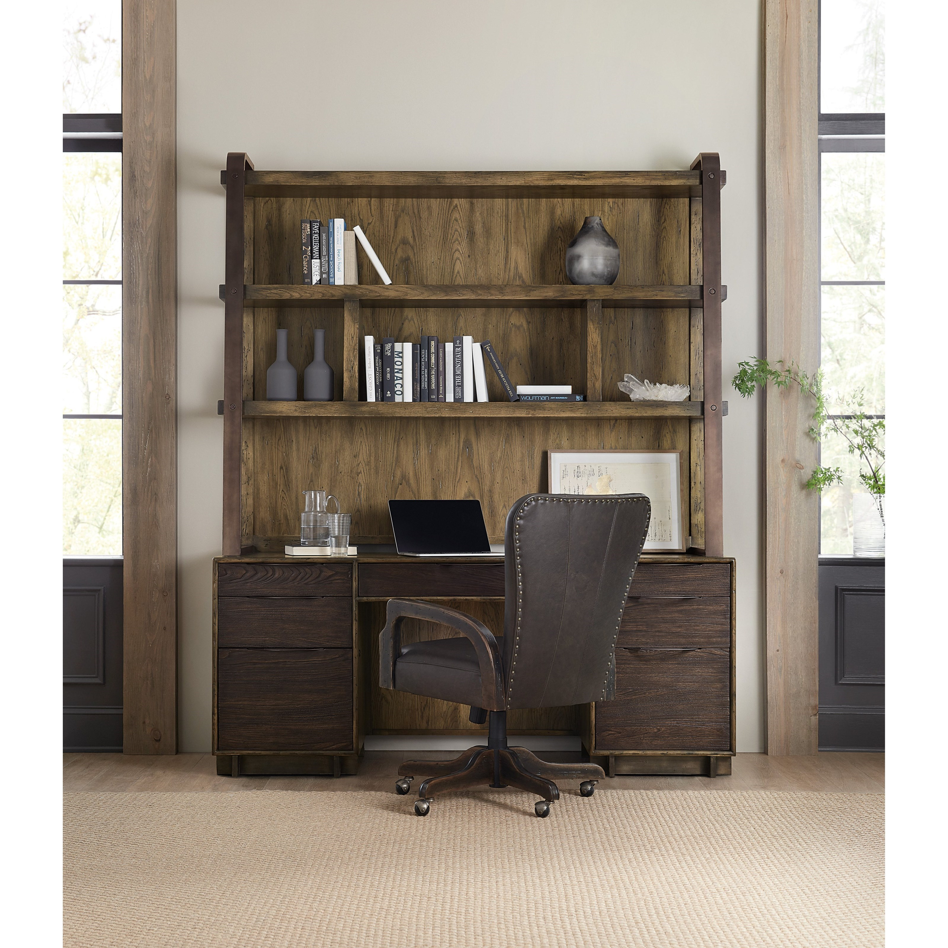 American Life-Crafted Computer Credenza and Hutch by Hooker Furniture at Baer's Furniture