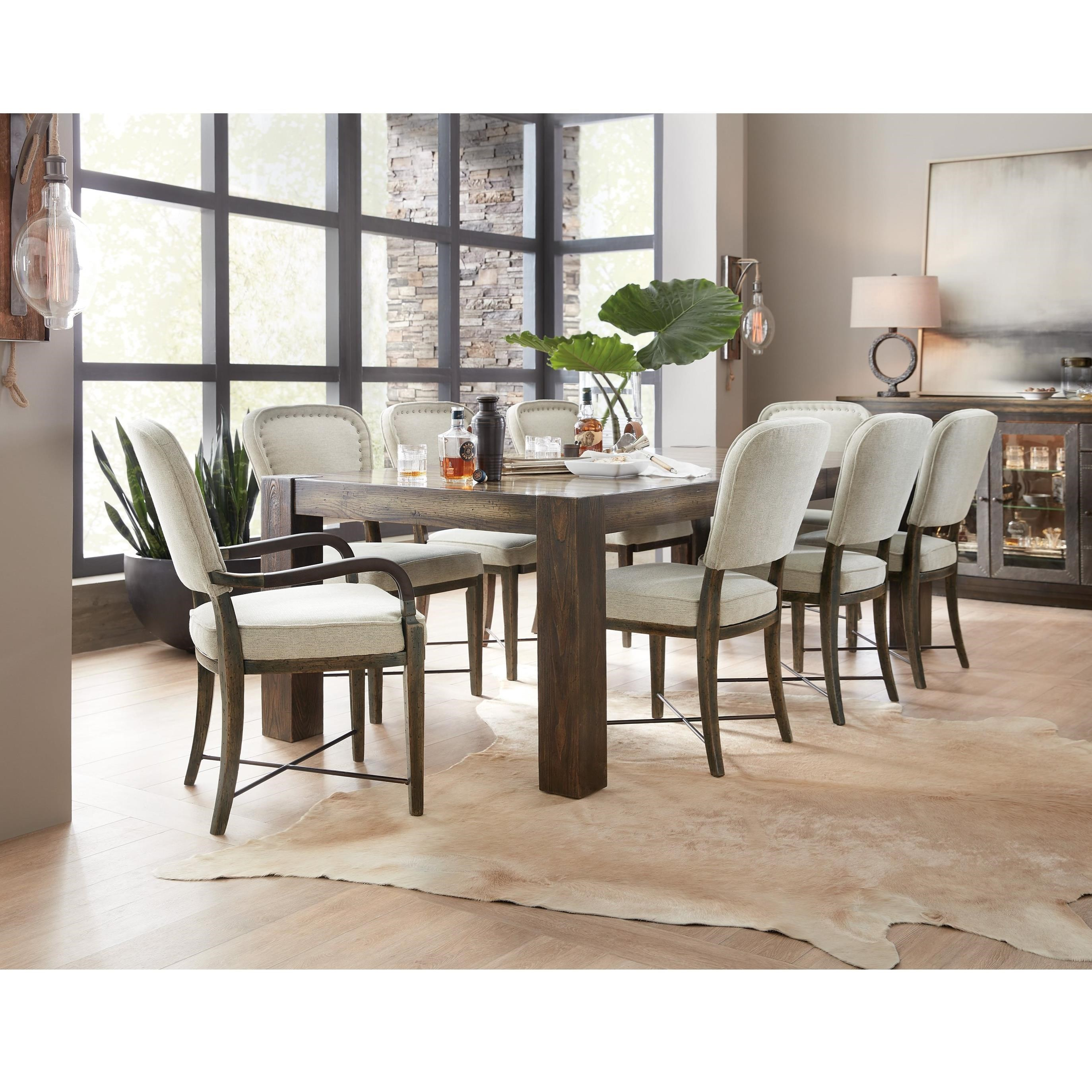 American Life-Crafted 9 Piece Table and Chair Set by Hooker Furniture at Stoney Creek Furniture
