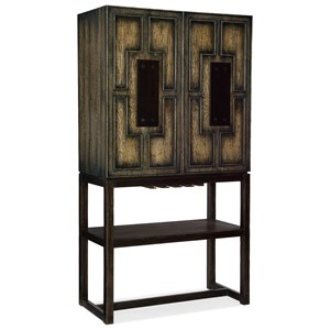 Two Door Bar Cabinet with Mirrored Backpanels
