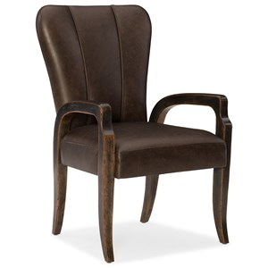 Leather Arm Chair with Decorative Bronze Nailheads
