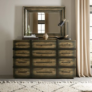 Twelve-Drawer Dresser and Mirror Set