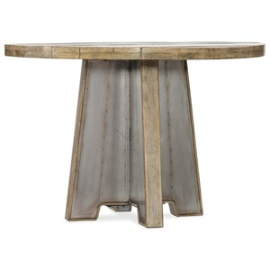 44in Metal Dining Table with Wood Top