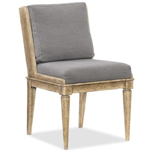 Upholstered Side Chair with Exposed Wood Legs