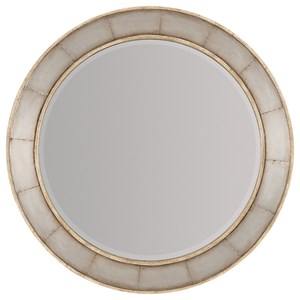 Wood Frame Round Mirror with Metal Inlay