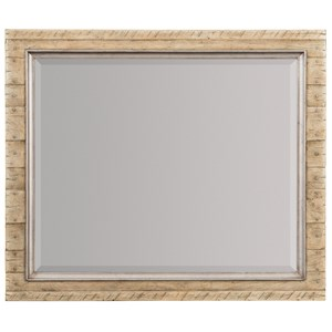 Wood Frame Landscape Mirror with Metal Inlay