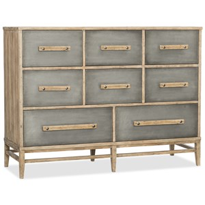 Eight-Drawer Bureau with Aluminum Drawer Fronts