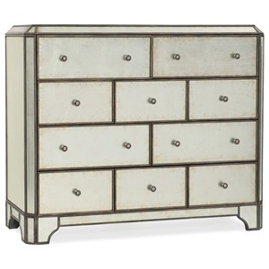 Mirrored Ten-Drawer Bureau