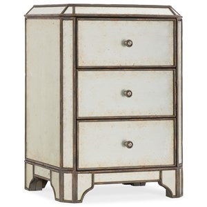 Mirrored Three-Drawer Nightstand with USB Port