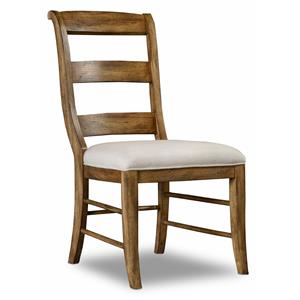 Ladderback Side Chair with Scrolled Back