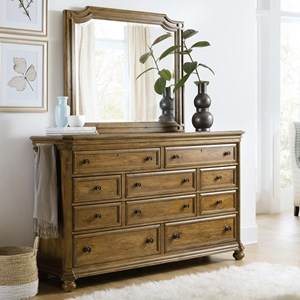 Transitional 10-Drawer Dresser and Mirror