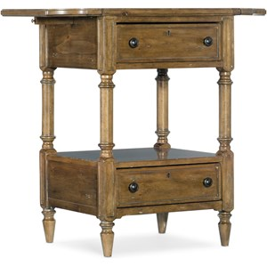 Transitional 2-Drawer Drop Leaf Telephone Table