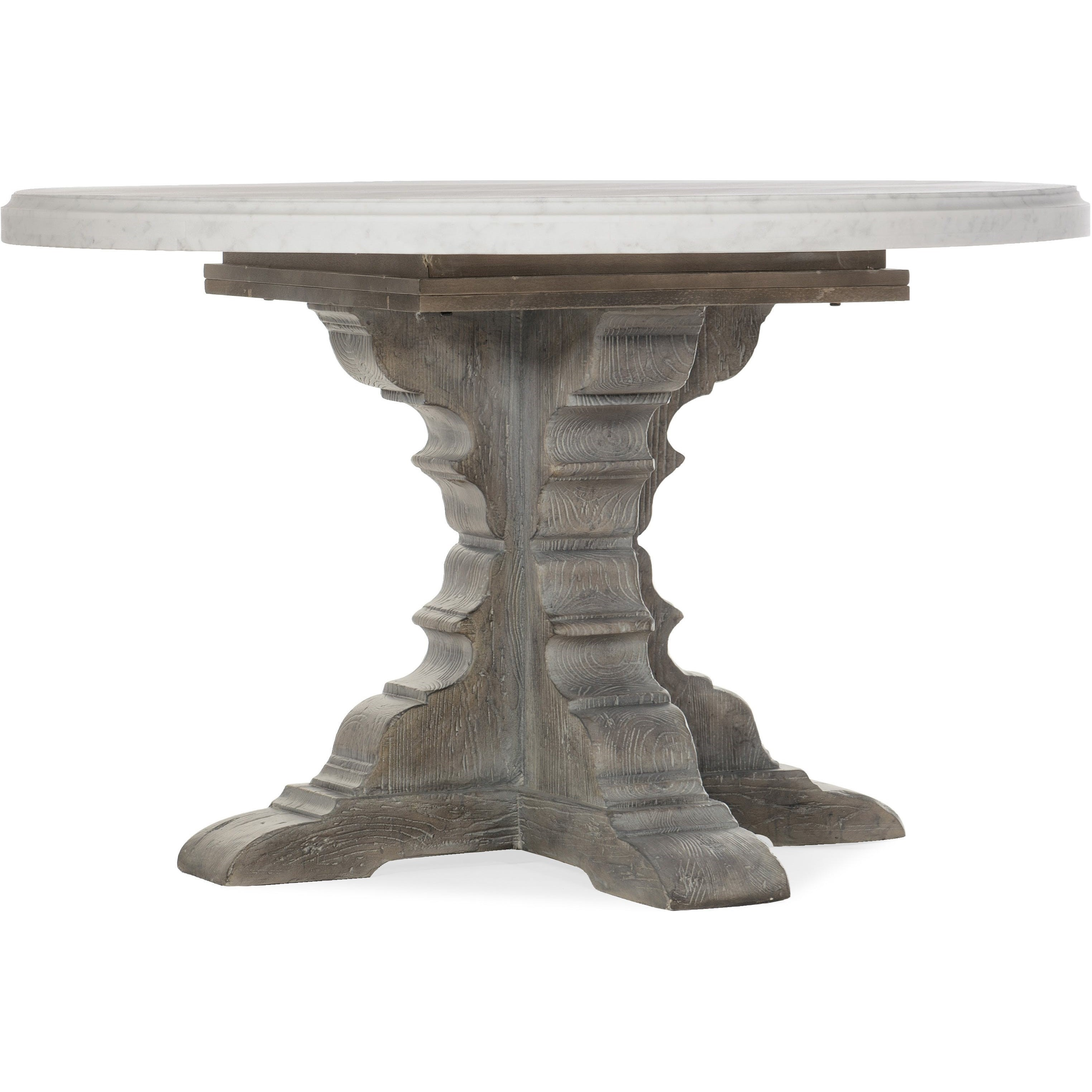 Beaumont Round Dining Table with 48in Marble Top by Hooker Furniture at Alison Craig Home Furnishings