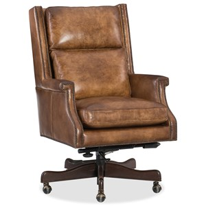 Traditional Home Office Swivel Chair with Nailhead Trim