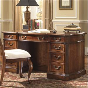 "Belle Grove 60"" Double Pedestal Desk with Sunburst Parqueted Veneer Top and Bookcase Back"