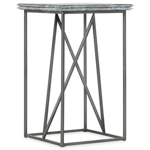 Stone-Metal Martini Table with Bluish Gray Marble Top