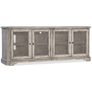 Entertainment Console with 4 Metal Grille Doors