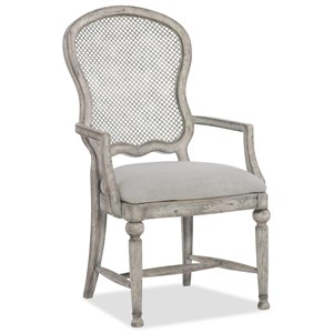 Gaston Traditional Metal Back Arm Chair with Upholstered Seat