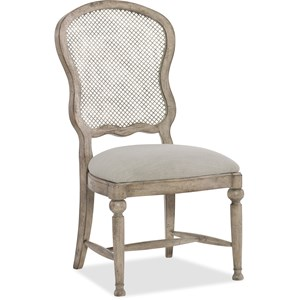 Gaston Traditional Metal Back Side Chair with Upholstered Seat