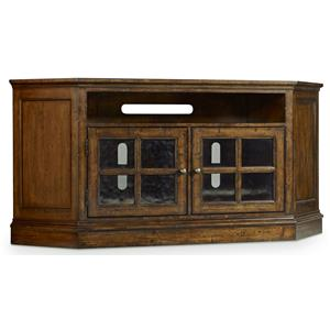 Corner Entertainment Console with 2 Glass Doors
