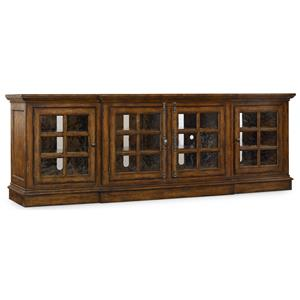 Entertainment Console with 4 Seeded Glass Doors