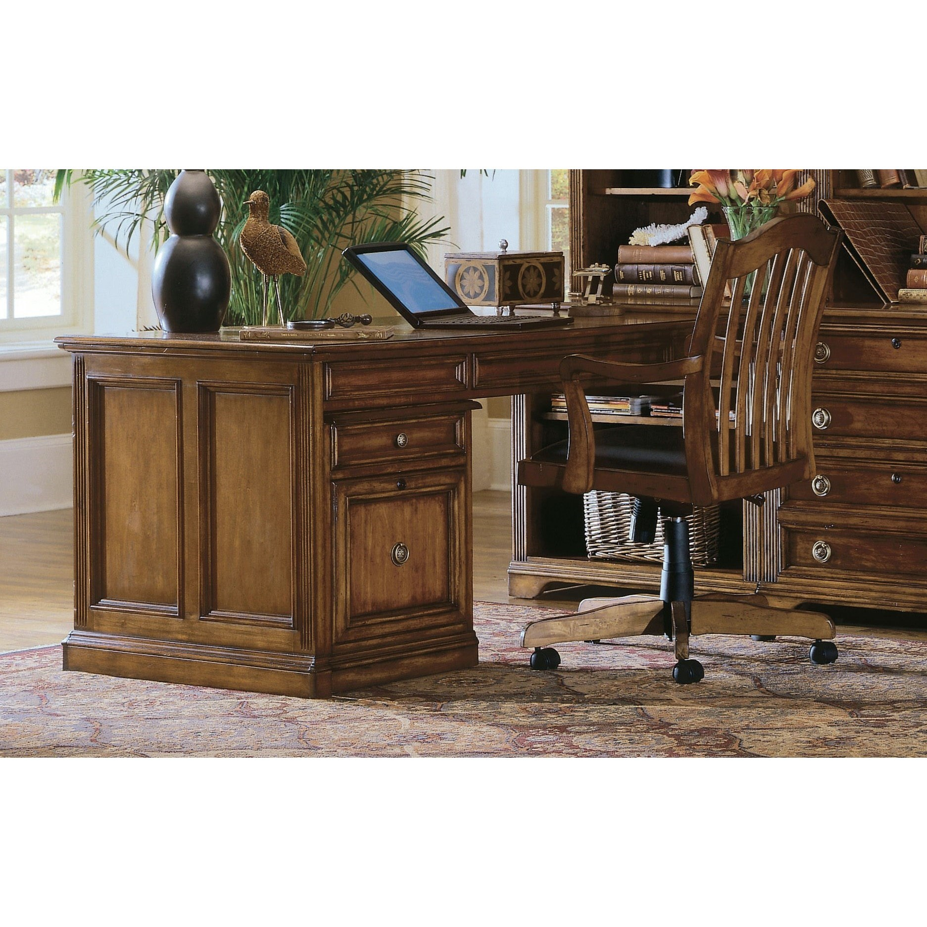 Brookhaven Peninsula Desk by Hooker Furniture at Baer's Furniture