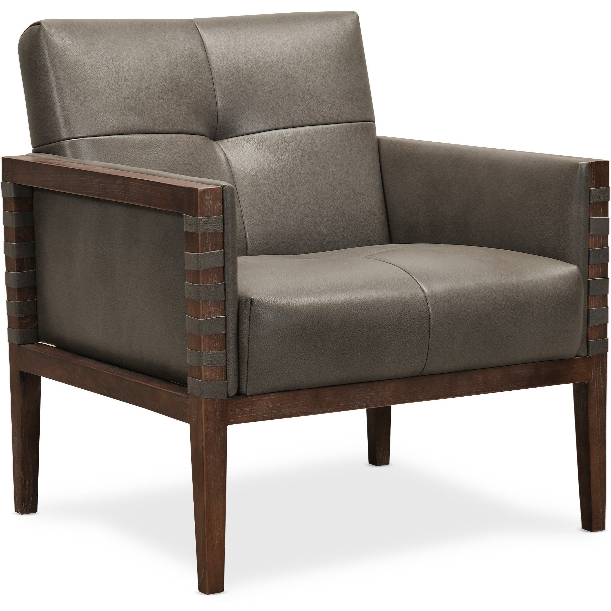 Carverdale Leather Club Chair w/ Wood Frame by Hooker Furniture at Baer's Furniture