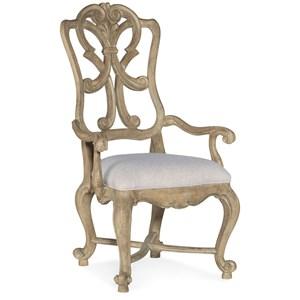 Wood Back Arm Chair