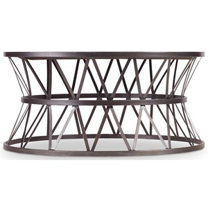 Round Cocktail Table with Metal X Pedestal Frame