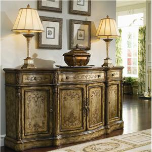 Hooker Furniture Chests and Consoles Four-Door Three-Drawer Shaped Credenza