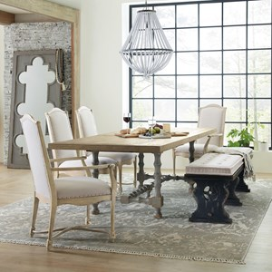 6-Piece Trestle Table and Chair Set with Bench