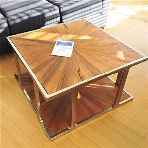 Metal and Wood Cocktail Table