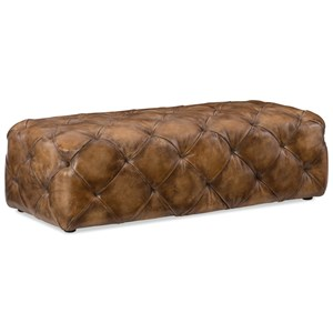 Traditional Decorative Leather Ottoman with Diamond Tufting