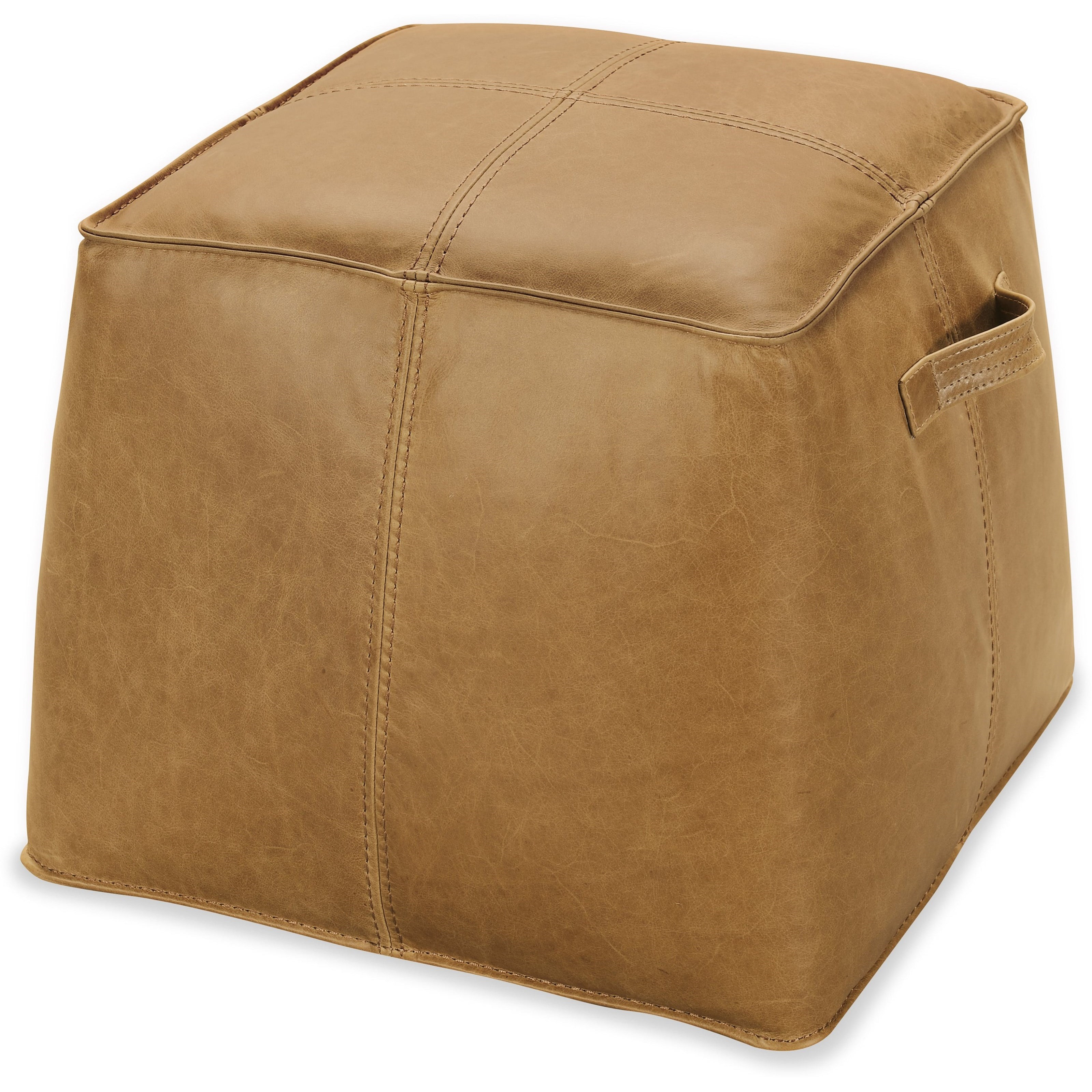 Cocktail Ottomans Birks Large Leather Ottoman by Hooker Furniture at Stoney Creek Furniture