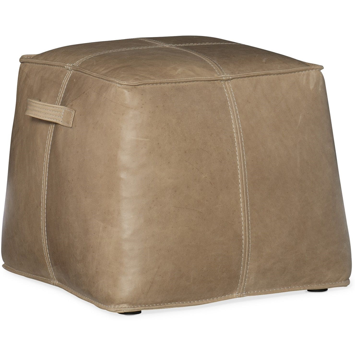 Cocktail Ottomans Dizzy Small Leather Ottoman by Hooker Furniture at Stoney Creek Furniture