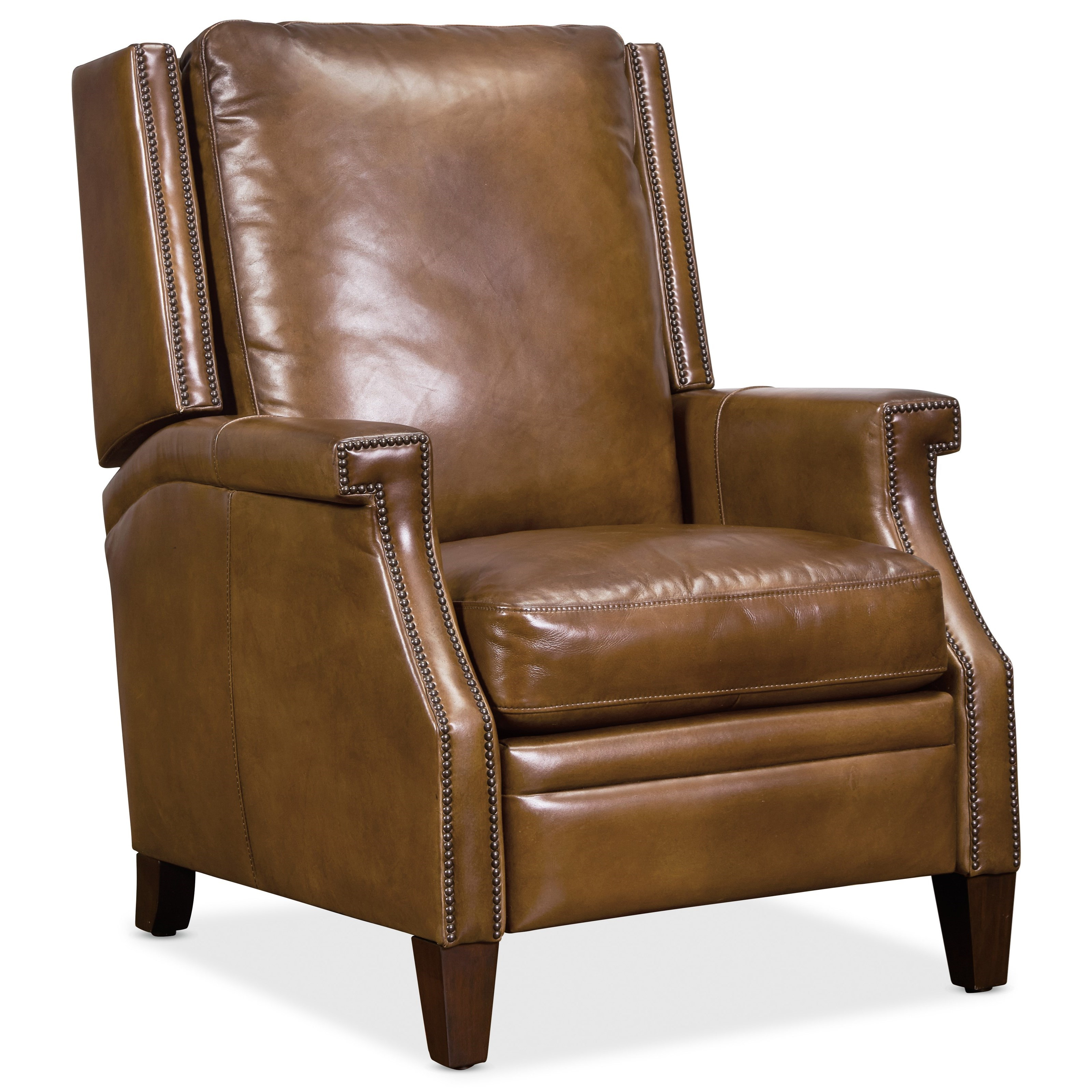 Collin Push Back Leather Recliner by Hooker Furniture at Miller Waldrop Furniture and Decor